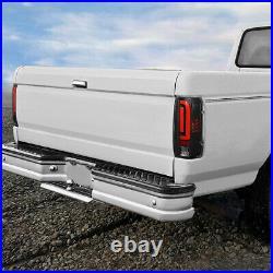 For 1990-1997 Ford F150 F250 Bronco Red 3d Led Bar Tail Light Brake Lamps Black