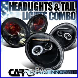 For 1998-2005 VW Beetle Black Halo LED Projector Headlights+Smoke Tail Lamps