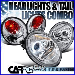For 1998-2005 VW Beetle Chrome Halo LED Projector Headlights+Tail Lamps