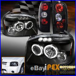 For 2001-2004 Nissan Frontier Halo Projector LED Headlights + Tail Lights Black