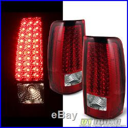 For 2003 2004 2005 2006 Silverado Red Clear LED Tail Lights Lamps Left+Right Set