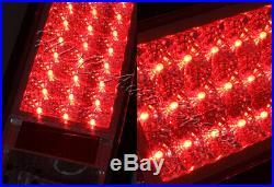 For 2003-2009 Hummer H2 Chrome Red/Clear Lens LED Rear Brake Tail Lights Lamp