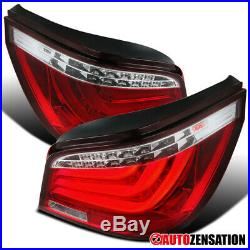 For 2004-2007 BMW E60 525i 530i 5-Series 4Dr Red/Clear LED Tail Lights Lamps