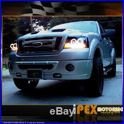 For 2004-2008 Ford F150 LED Halo Projector Headlights With Black Euro Tail Lights