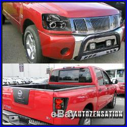 For 2004-2015 Nissan Titan Black Halo LED Projector Headlights+Tail Lamp