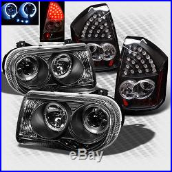 For 2005-2007 Chrysler 300C Halo LED Projector Headlights+LED Tail Head Lights