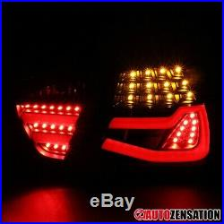 For 2005-2008 BMW 3-Series E90 Black Clear Tail Brake Lights with LED DRL Bar Tube