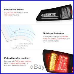 For 2006-2008 Lexus IS250 IS350 Sedan Black Rear LED Tail Lights Brake Lamps 4PC