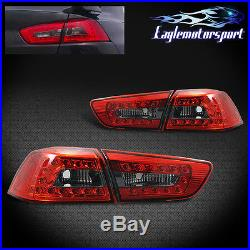 For 2008-2015 Mitsubishi Lancer/EVO X Red Smoke LED Tail Lights Rear Lamps Pair