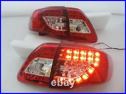For 2009-2010 Toyota Corolla Altis Red/Clear LED Brake Signal Tail Light