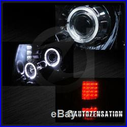 For 2009-2014 Ford F150 Glossy Black Smoke Projector Headlights+LED Tail Lamps