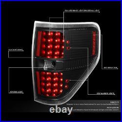 For 2009-2014 Ford F150 Pair Full Led Tail Light Rear Brake Lamps(black/clear)