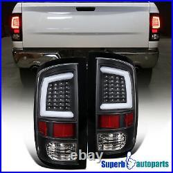 For 2009-2018 Dodge Ram 1500 10-18 2500 3500 LED Bar DRL Strip Tail Lights Black