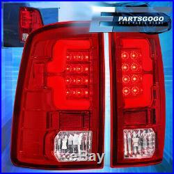 For 2009-2018 Dodge Ram 1500 2500 3500 Red Lens Chrome Housing Led Tail Lights