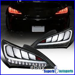 For 2010-2016 Hyundai Genesis 2Dr Coupe Black Sequential LED Tail Lights Pair