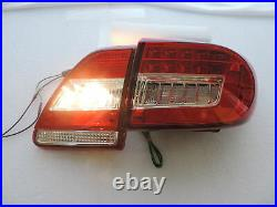 For 2011 2013 Toyota Corolla Altis Red/Clear LED Brake Signal Tail Light Pair