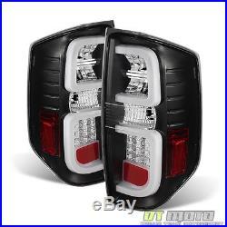 For 2014 2015 2016 2017 Toyota Tundra Black LED Tube Tail Lights Brake Lamps Set