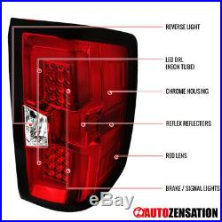 For 2014-2017 Chevy Silverado 1500 Red/Clear LED Tail Brake Lights with DRL Bar