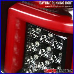 For 2014-2017 Sierra Chevy Silverado Slick Black LED DRL Bar Tail Lights Lamps