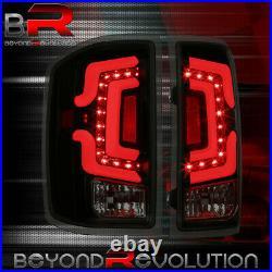 For 2014-2018 Chevy Silverado Rear Smoke Lens LED Tube Tail Lights Black Housing