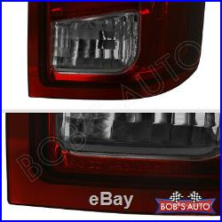 For 2014-2018 Silverado 3D Bow Tube Red Smoke Tinted LED Tail Lights LH+RH