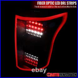 For 2015-2017 Ford F150 Black LED Tail Lights Brake Lamps with LED DRL Bar