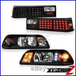 For 87-93 Ford Mustang Black LED Headlight+Corner Signal Lamp + Tail Light Combo