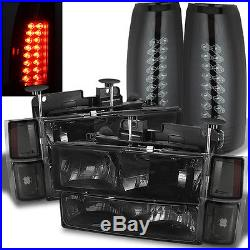 For 94-02 Chevy C/K Smoke Headlights Set + Mystery Black/Smoked LED Tail Lights