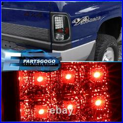 For 94-02 Dodge RAM 1500/2500/3500 LED Brake Tail Lights Lamps Pair Black Clear