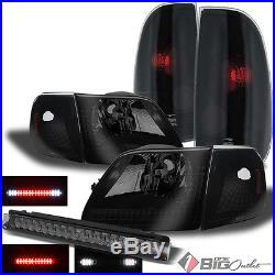 For 97-04 F150 Mystery Black Smoked Headlights + Tail Lights + LED 3rd Brake