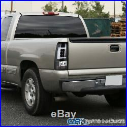 For 99-02 Chevy Silverado GMC Sierra Fleetside Black LED Tube Tail Brake Lights