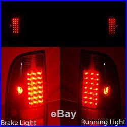 For 99-04 F250/350/450/550 Smoke Halo LED Projector Headlights + LED Tail Lights