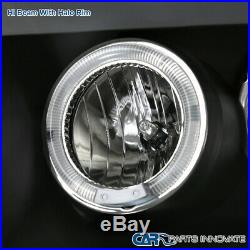 For 99-04 F250 F350 SuperDuty Black Halo Projector Headlights+LED Smoke Tail