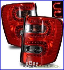For 99-04 Jeep Grand Cherokee Euro Red Smoked LED Tail Light Rear Brake Lamps