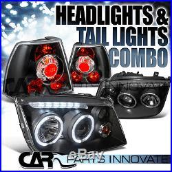 For 99-05 Jetta Bora Mk4 Euro Black LED DRL Halo Projector Headlights+Tail Lamp