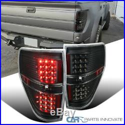 For Ford 09-14 F150 F-150 Pickup Black LED Rear Tail Lights Brake Lamps Pair