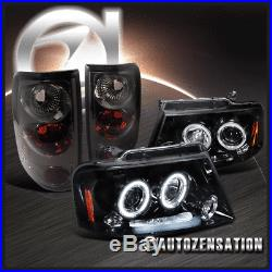 For Ford 2004-2008 F150 Glossy Black LED DRL Halo Projector Headlights+Tail Lamp