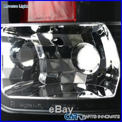 For GMC 07-14 Sierra Black LED Projector Headlights Lamps+LED Tail Brake Lamps