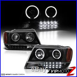 For Jeep 99-04 GRAND CHEROKEE BLACK HALO PROJECTOR HEADLIGHT+LED TAIL LIGHT LAMP