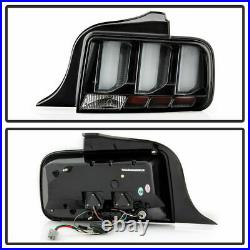 Ford 05-09 Mustang Black LED Tube Sequential Turn Signal Tail Lights Brake Lamps