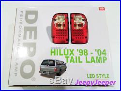 Genuine Depo Led Tail Light Rear Lamp Toyota Hilux Mk4 Mk5 Smoke Len 1998 2004