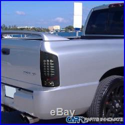 Glossy Black 02-06 Dodge Ram 1500 2500 3500 Dark Smoke LED Tail Lights Rear Lamp
