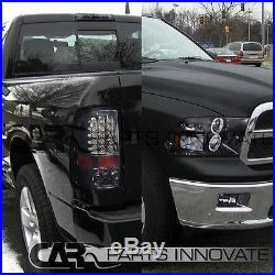 Glossy Black 09-17 Ram Smoke Halo Projector Headlights+Tinted LED Tail Lamps