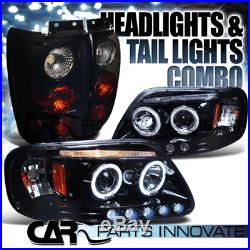 Glossy Black 1997-2002 Ford Expedition Halo LED Projector Headlights+Tail Lamp