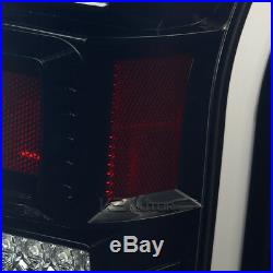 Glossy Black Fit 2015-2017 Ford F150 Smoke Rear Brake Full LED Tail Lights