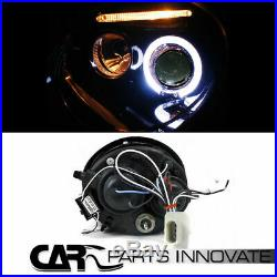 Glossy Black Fit 98-05 VW Beetle Halo LED Projector Headlights+Smoke Tail Lamps
