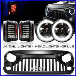 Grille + LED Headlight + LED Tail Lights Combo Kit for Jeep Wrangler JK 2007-17