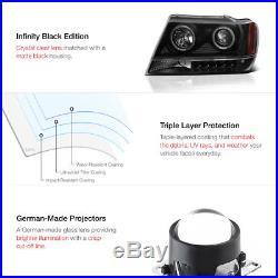 Jeep 99-04 Grand Cherokee Wj Black Projector Headlight+led Tail Light Brake Lamp