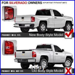 LATEST DESIGN 14-18 Chevy Silverado 1500 2500 3500 LED Black Tail Lights Pair
