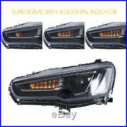 LED Audi Style Headlight For Mitsubishi Lancer EVO X 2008-2017 DRL All Black Set